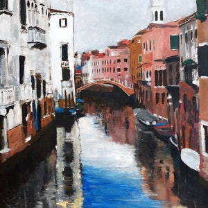 (CreativeWork) A love of Venice by Rachael McDiarmid. acrylic-painting. Shop online at Bluethumb.