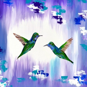 (CreativeWork) Hello hummingbirds by Cathy Jacobs. arcylic-painting. Shop online at Bluethumb.