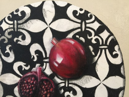 (CreativeWork) Red pomegranates on plate by Andrew Bischoff. oil-painting. Shop online at Bluethumb.
