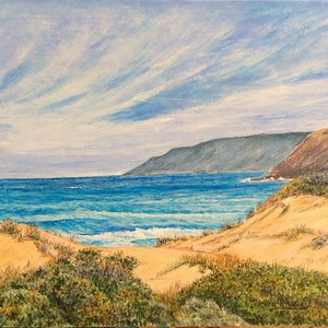 (CreativeWork) What pings Beach South Australia by Henry Wood. oil-painting. Shop online at Bluethumb.