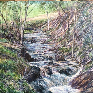 (CreativeWork) Babbling Brook by Henry Wood. arcylic-painting. Shop online at Bluethumb.