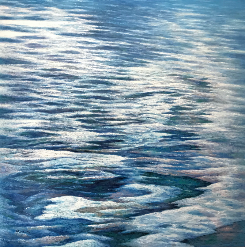 (CreativeWork) Water rhyme by Alex Mo. Oil Paint. Shop online at Bluethumb.
