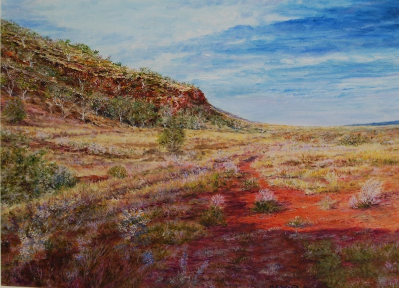 (CreativeWork) Mount Robinson. Pilbarra by Henry Wood. oil-painting. Shop online at Bluethumb.