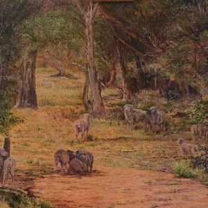 (CreativeWork) Flinders Mob by Henry Wood. oil-painting. Shop online at Bluethumb.