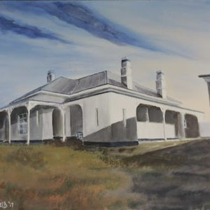 (CreativeWork) The Lighthouse Keeper's Cottage Montague Island NSW by Colin Hadfield. arcylic-painting. Shop online at Bluethumb.