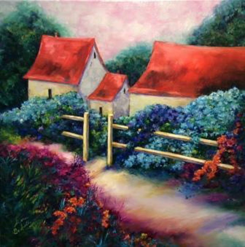 (CreativeWork) French Farmhouse Hydrangea Garden, oil on canvas, French countryside, red rooftops, ready to hang by Sharon DeSailly. Oil Paint. Shop online at Bluethumb.