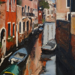 (CreativeWork) Looking towards the Grand Canal Venice by Rachael McDiarmid. oil-painting. Shop online at Bluethumb.