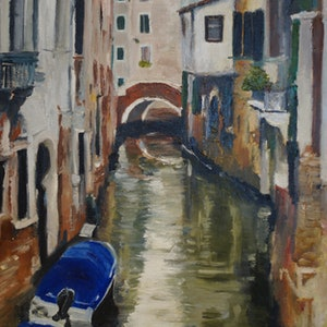 (CreativeWork) A favourite canal in Venice by Rachael McDiarmid. #<Filter:0x000055a2af062848>. Shop online at Bluethumb.