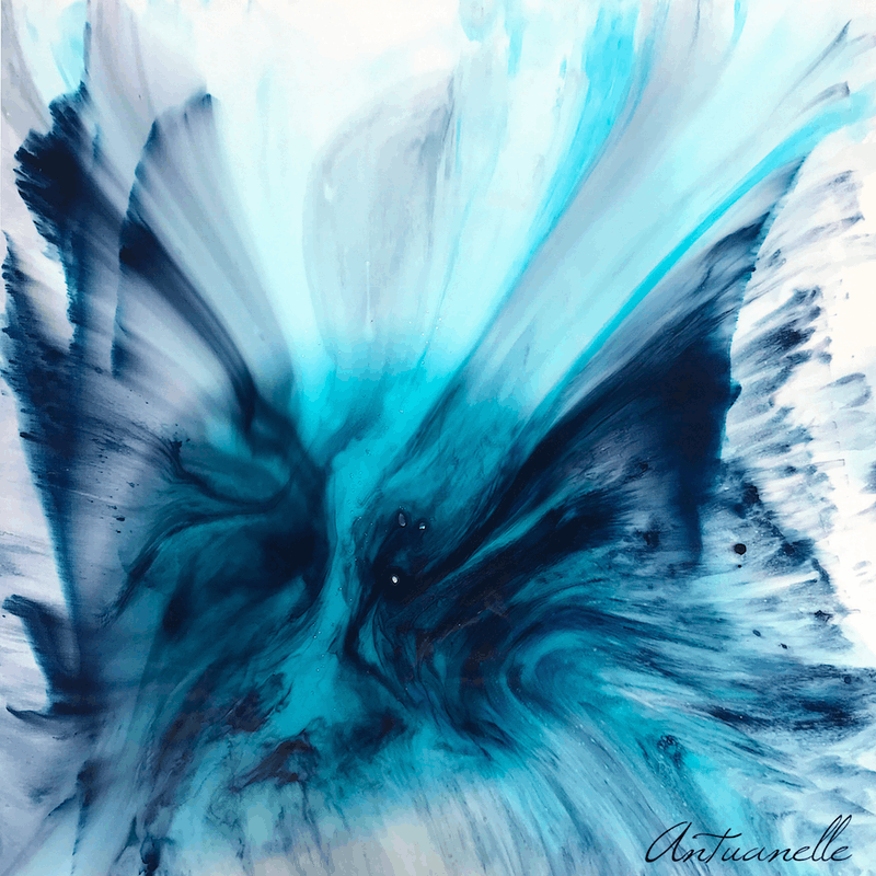 My Blue Heaven Marie Antuanelle Original Abstract Painting Blue Angel Wings Heaven Flight Flying Away Calming Teal Aqua Grey Painting