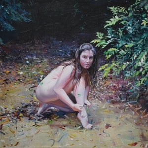 (CreativeWork) Lilith by Loribelle Spirovski. oil-painting. Shop online at Bluethumb.