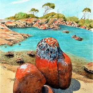 (CreativeWork) Binalong Bay Rocks by John and Michele Hinves. watercolour. Shop online at Bluethumb.