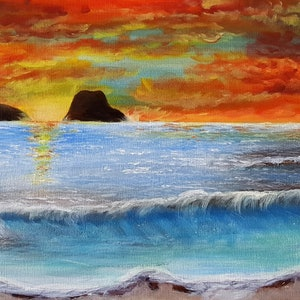 (CreativeWork) Sunset wave by Michelle Baumann. arcylic-painting. Shop online at Bluethumb.
