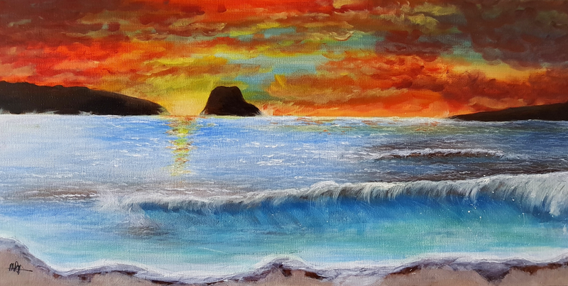 (CreativeWork) Sunset wave by Michelle Baumann. acrylic-painting. Shop online at Bluethumb.