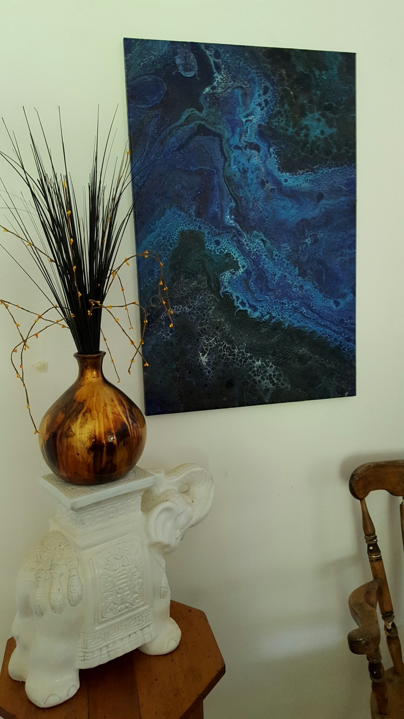 (CreativeWork) Brilliant Blues by Diane Shallis. arcylic-painting. Shop online at Bluethumb.