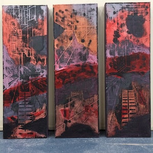 (CreativeWork) Red Line Triptych by Tatyana Rugema. oil-painting. Shop online at Bluethumb.