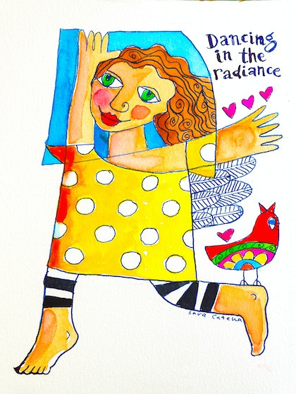 (CreativeWork) Dancing in the radiance by Sara Catena. watercolour. Shop online at Bluethumb.
