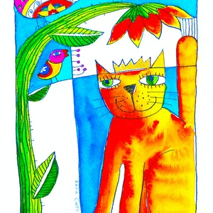(CreativeWork) Marmalade Kitty Loves by Sara Catena. watercolour. Shop online at Bluethumb.