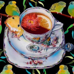 (CreativeWork) Budgies and Passionfruit tart by paul mcknight. oil-painting. Shop online at Bluethumb.
