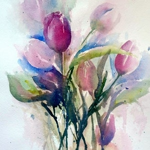 (CreativeWork) Tulips on display. by Vivi Palegeorge. watercolour. Shop online at Bluethumb.