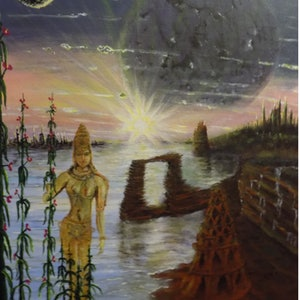 (CreativeWork) The City of the Ancient Ones - View Looking Towards Nrby & Afr. by David Ayre. arcylic-painting. Shop online at Bluethumb.