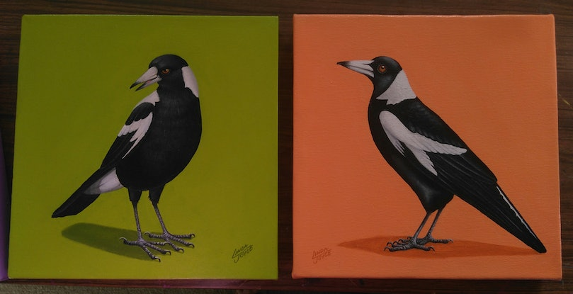 (CreativeWork) MAGPIE#5 by Linda Joyce. Acrylic Paint. Shop online at Bluethumb.