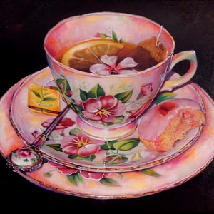 (CreativeWork) Morning Glory and Macaroon by paul mcknight. oil-painting. Shop online at Bluethumb.