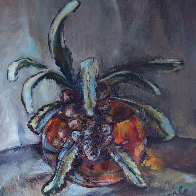 (CreativeWork) Banksia by Katerina Apale. oil-painting. Shop online at Bluethumb.