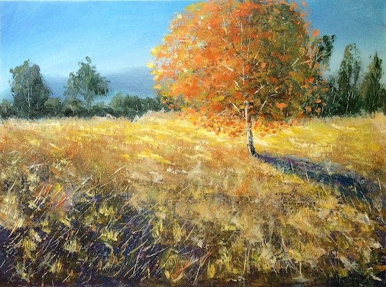 (CreativeWork) Glowing autumn by Jing Tian. Acrylic Paint. Shop online at Bluethumb.