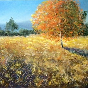(CreativeWork) Glowing autumn by Jing Tian. acrylic-painting. Shop online at Bluethumb.