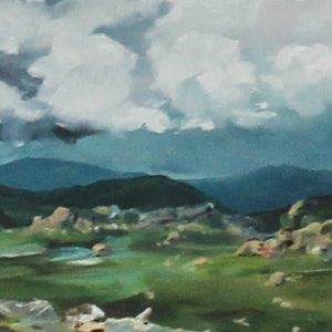 (CreativeWork) Snowy Mountain High by gabi mika-mcnaughton. oil-painting. Shop online at Bluethumb.