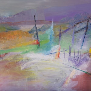 (CreativeWork) Coastal Abstraction by Roland Weight. oil-painting. Shop online at Bluethumb.
