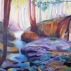 (CreativeWork) Bushland Creek by Linne B Pattenden. oil-painting. Shop online at Bluethumb.