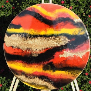 (CreativeWork) Kangaroo Island Sunset - Resin on Art Board by Stracy Lewis. resin. Shop online at Bluethumb.