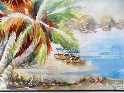 (CreativeWork) Agnes Waters Fishing by kay steels. watercolour. Shop online at Bluethumb.