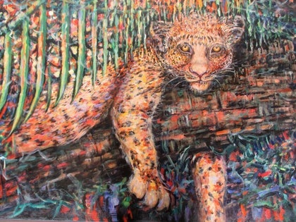 (CreativeWork) Jimbo the Leopard Cub by kay steels. arcylic-painting. Shop online at Bluethumb.