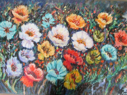 (CreativeWork) Happy Flowers by kay steels. arcylic-painting. Shop online at Bluethumb.