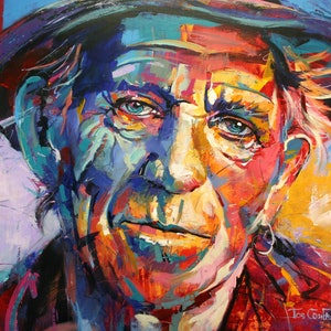 (CreativeWork) Keith Richards by Jos Coufreur. arcylic-painting. Shop online at Bluethumb.