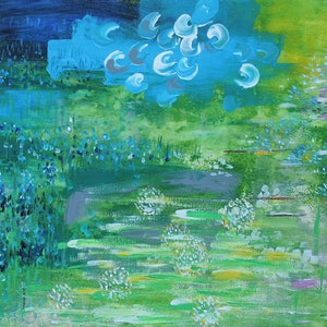 (CreativeWork) THE FIRST DAWN IN SPRING by Lily Iris. arcylic-painting. Shop online at Bluethumb.