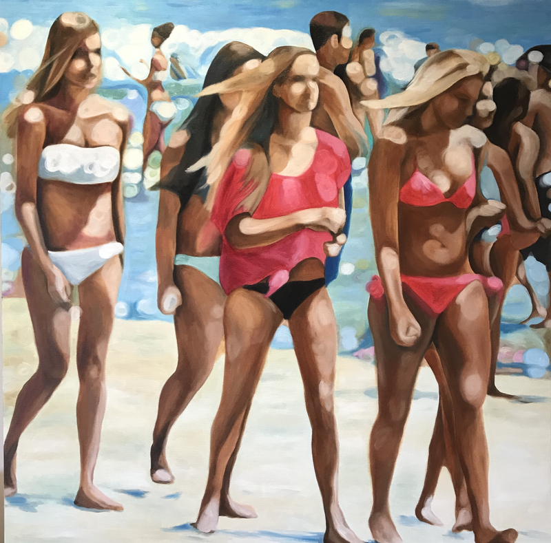 (CreativeWork) Beach Walkers by Amanda Cameron. oil-painting. Shop online at Bluethumb.