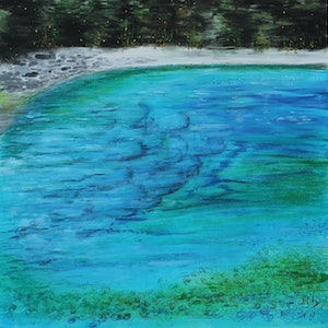 (CreativeWork) THE LAKE IN THE SKY by Lily Iris. mixed-media. Shop online at Bluethumb.