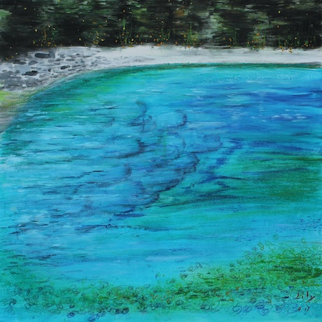 (CreativeWork) THE LAKE IN THE SKY by Lily Iris. Mixed Media. Shop online at Bluethumb.
