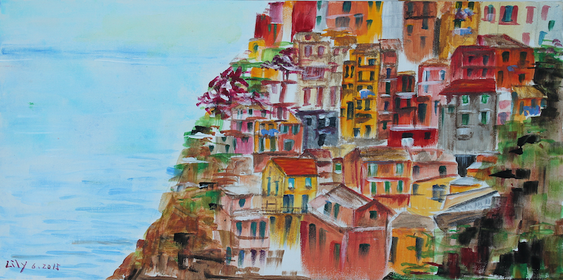 (CreativeWork) CINQUE TERRE by Lily Iris. arcylic-painting. Shop online at Bluethumb.