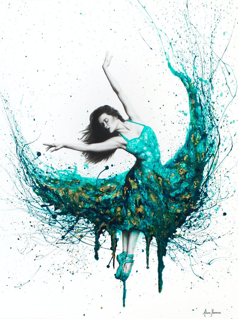 (CreativeWork) Chrysocolla Dance by Ashvin Harrison. arcylic-painting. Shop online at Bluethumb.