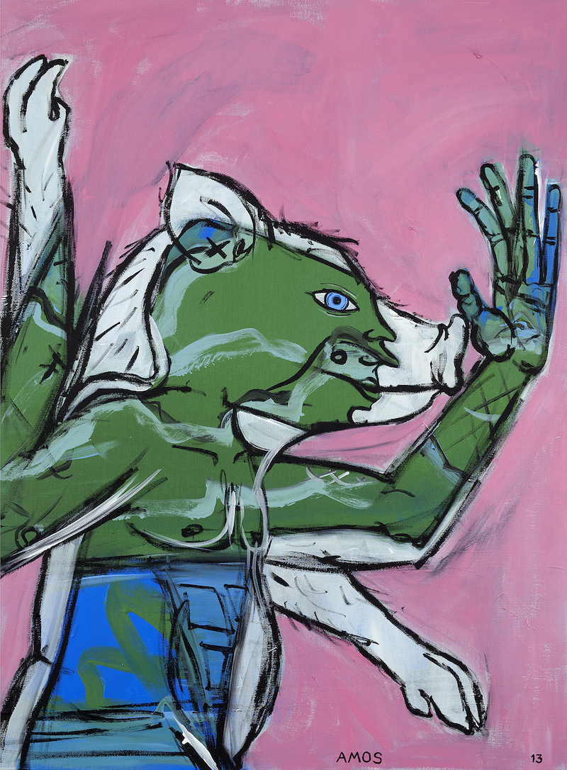 (CreativeWork) Flailing Pig Man by Amos Duggan. arcylic-painting. Shop online at Bluethumb.