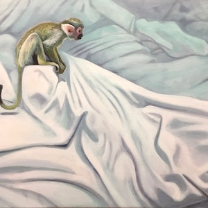 (CreativeWork) Sitting Monkey by Ross Morgan. arcylic-painting. Shop online at Bluethumb.