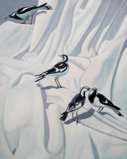 (CreativeWork) Four Piping Shrikes by Ross Morgan. arcylic-painting. Shop online at Bluethumb.