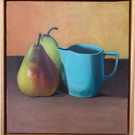 (CreativeWork) Still Life - Blue Jug by Ishbel Morag Miller. Oil Paint. Shop online at Bluethumb.