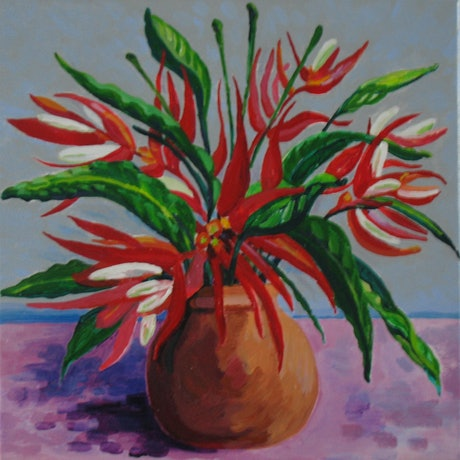 (CreativeWork) Heliconia Christmas by Anna Casey. Acrylic Paint. Shop online at Bluethumb.