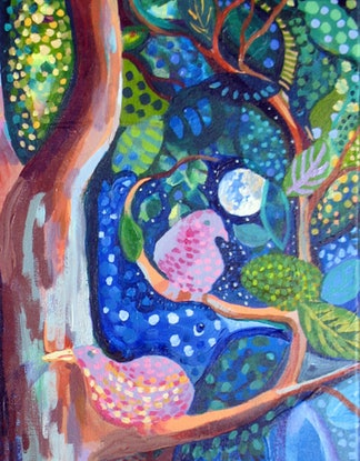(CreativeWork) Birdspotting by Anna Casey. Acrylic Paint. Shop online at Bluethumb.