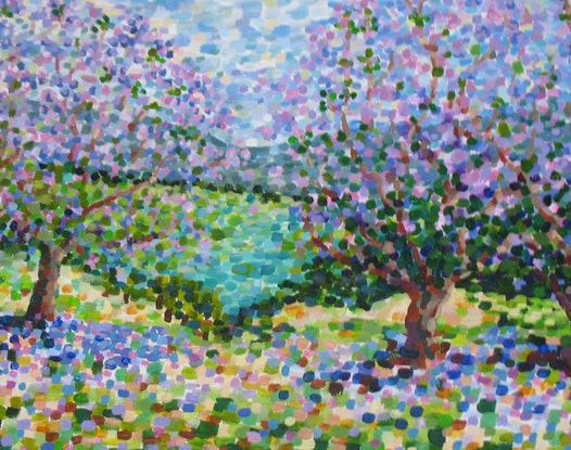 (CreativeWork) Jacaranda Time by Anna Casey. Acrylic Paint. Shop online at Bluethumb.